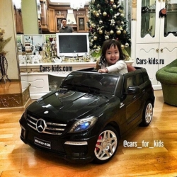 Электромобиль Mercedes-Benz ML 63 AMG черный (резиновые колеса, кожа, пульт, музыка)