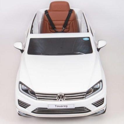 Электромобиль VOLKSWAGEN TOUAREG белый (колеса резина, сиденье кожа, пульт, звуковые эффекты)